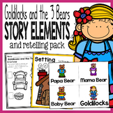 Goldilocks and the Bears Story Elements and Story Retelling Worksheets Pack