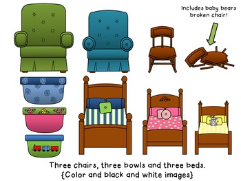 Goldilocks and the Three Bears Clip Art {By Busy Bee Clip Art}