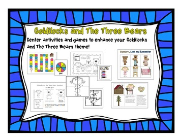 Goldilocks and the Three Bears Center Activities and Games