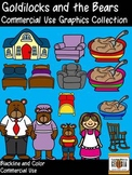 Goldilocks and the Three Bears Clip Art Collection-Color/Blackline