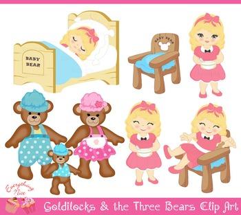 Goldilocks and the Three Bears Clip Art Set