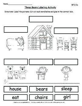 Goldilocks and the Three Bears- Common Core Activities