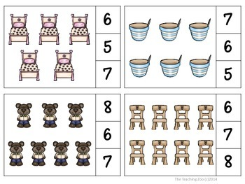 Goldilocks and the Three Bears Count & Clip 1- 30 Task Cards