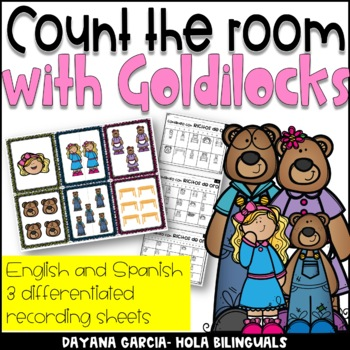 Goldilocks and the Three Bears- Count the room {English and Spanish}
