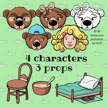 Goldilocks and the Three Bears - Paper Masks & Puppets - Dramatic Play Set