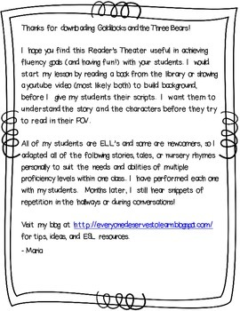 Goldilocks and the Three Bears ESL Adapted Reader's Theater