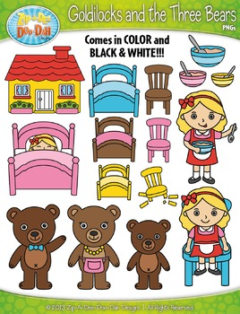 Goldilocks and the Three Bears Fairy Tale Clipart {Zip-A-Dee-Doo-Dah Designs}