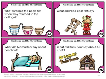 Goldilocks and the Three Bears Reading Comprehension Task Cards