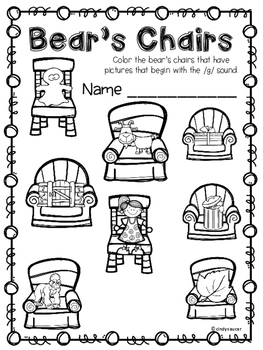 Goldilocks and the Three Bears, Kindergarten, Centers and Printables