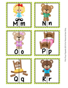 Goldilocks and the Three Bears Letter Match Puzzles