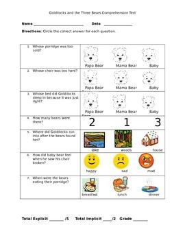 Goldilocks and the Three Bears Listening Comprehension test