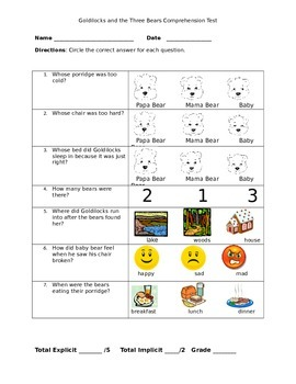 Goldilocks and the Three Bears Listening Comprehension test