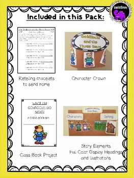 Goldilocks and the Three Bears Literacy Pack For Kindergarten and First Grade