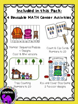 Goldilocks and the Three Bears Math Activity Pack for Kindergarten