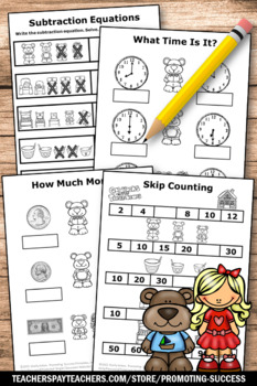 Goldilocks and the Three Bears Math, No Prep Kindergarten Math Worksheets