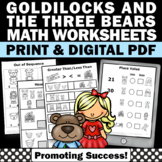 Goldilocks and the Three Bears Kindergarten Math Worksheets