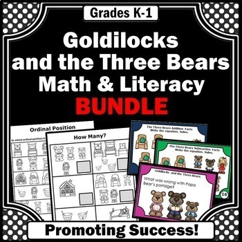 Goldilocks and the Three Bears Activities BUNDLE Math and Literacy Centers