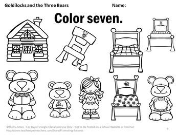 Goldilocks and the Three Bears Kindergarten Math Counting & Coloring Worksheets