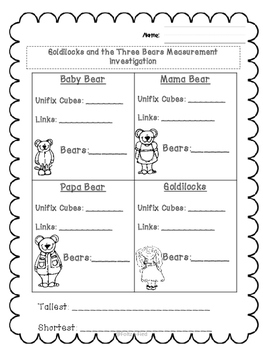 Goldilocks and the Three Bears Measurement Investigation