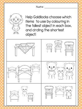 Goldilocks and the Three Bears - Measurement Worksheet