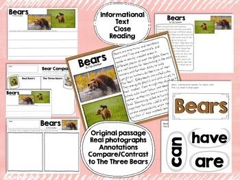 Goldilocks and the Three Bears Literacy & BEARS Informational Text Close Reading