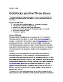 Goldilocks and the Three Bears- Role Play