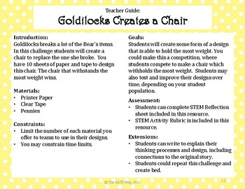 Goldilocks and the Three Bears STEM and Depth and Complexity