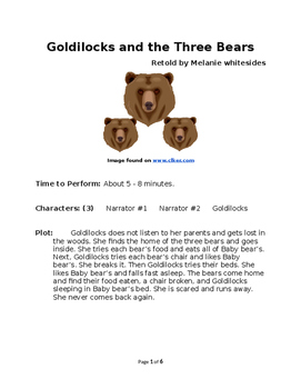 Goldilocks and the Three Bears - Small Group Reader's Theater