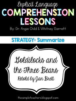 Goldilocks and the Three Bears - Summarize Comprehension Lesson