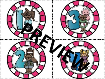Goldilocks and the Three Bears Themed Numbered Labels
