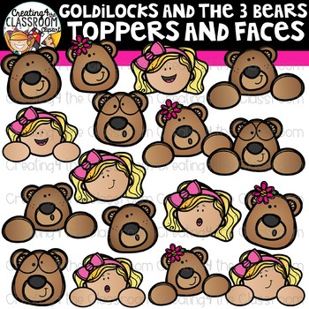 Goldilocks and the Three Bears Toppers and Faces Clipart {Reading Clipart}