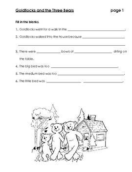 Goldilocks and the Three Bears - Vocabulary and Comprehension