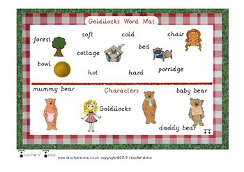 Goldilocks and the Three Bears Word Mat