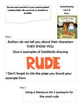 Goldilocks and the Three Bears by James Marshall 5 day reading activities