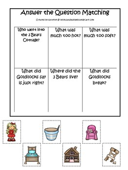 Goldilocks and the Three Bears themed Answer the Question preschool printable.