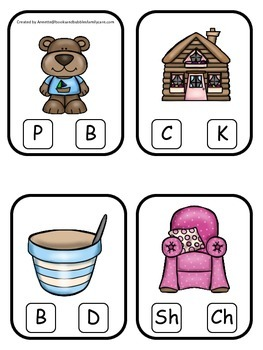 Goldilocks and the Three Bears themed Beginning Sounds Clip it Cards.  Preschool