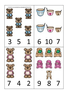 Goldilocks and the Three Bears themed Count and Clip preschool cards.