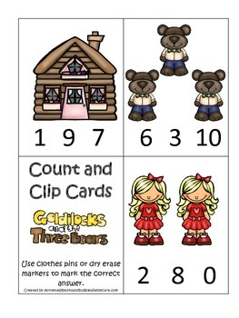 Goldilocks and the Three Bears themed Count and Clip presc
