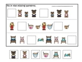 Goldilocks and the Three Bears themed Fill in the Missing Pattern preschool game
