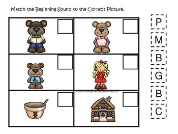 Goldilocks and the Three Bears themed Match the Beginning Sounds preschool game.