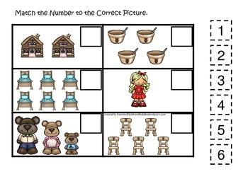Goldilocks and the Three Bears themed Match the Number preschool printable.