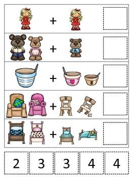 Goldilocks and the Three Bears themed Math Addition preschool printable.