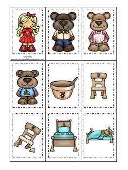 Goldilocks and the Three Bears themed Memory Matching Cards.  Preschool game.
