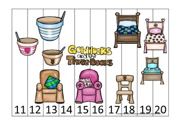 Goldilocks and the Three Bears themed Number Sequence Puzzle 11-20.  Preschool