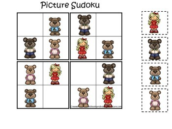 Goldilocks and the Three Bears themed Picture Sudoku preschool printable game.