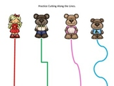 Goldilocks and the Three Bears themed Scissor Cutting Practice preschool activit