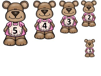 Goldilocks and the Three Bears themed Size Sequence preschool printable game.