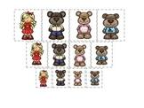 Goldilocks and the Three Bears themed Size Sorting preschool printable game.