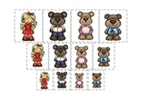 Goldilocks and the Three Bears themed Size Sorting preschool printable game.