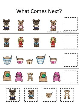 Goldilocks and the Three Bears themed What Comes Next preschool printable.